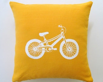 Pillow Cover - Cushion Cover - Accent Pillow - Mountain Bicycle  16 x 16 inches - Choose your fabric and ink color - Accent Pillow