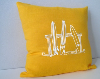 Pillow Cover - Three Surfboards - 16 x 16 inches - Choose your fabric and ink color - Accent Pillow