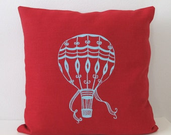 Hot Air Balloon Pillow Cover - Cushion Cover  - 16 x 16 inches - Choose your fabric and ink color - Accent Pillow