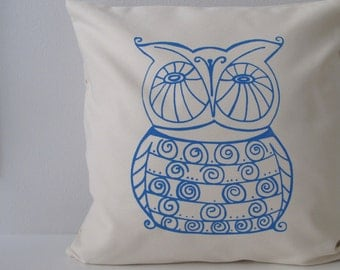 Owl Pillow Cover - Cushion Cover - 16 x 16 inches - Choose your fabric and ink color - Accent Pillow