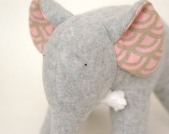 Ariel Grey - Grey Fleece Elephant with Retro Pink and Grey Pattern on Ears and Tummy