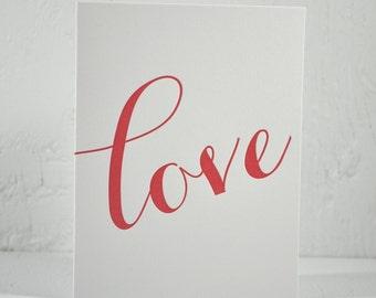 SALE - Letterpress Valentine - love - red ink on white - valentines, wedding, anniversary