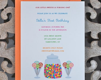 Candy Birthday Invitations . Birthday Invitations . First Birthday Invitations . Candy Theme - Gumballs and Lollipops