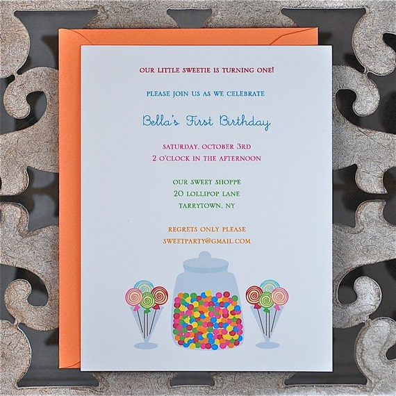 Candy Birthday Invitations . Birthday Invitations . First Birthday Invitations . Candy Theme - Gumballs and Lollipops
