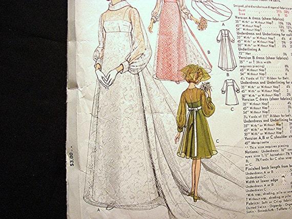1970s wedding dress pattern size 12 vogue empire waist for Empire waist wedding dress patterns