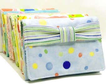 Blue Polka Dots Trifold Wallet With Bow  - Business Card Holder - Gift Card Holder