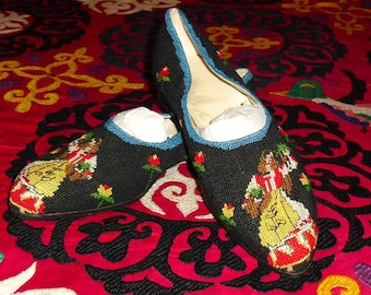 Out of this World Hand Cross Stitched Folk Dance Flats with Leather Soles Image of Dancing Woman sz 42