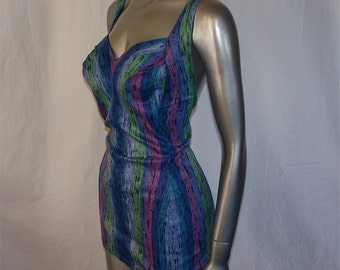 Vintage 50's COLE Bombshell Pin Up Swim Suit with Shelf Bust and Vibrant Blues, Pinks and Purples