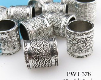 Large Hole Pewter Cylinder Beads, Celtic Braid, Tube Bead, Antique Silver 14mm (PWT 378) 6 pcs BlueEchoBeads