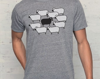 Black Sheep t-shirt, Men's Eco Grey tri-blend t-shirt, Mens graphic tee, Gift for him, Art T-shirt, Cool t-shirt
