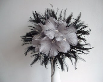 Feather Flower And Rhinestone Brides Maids Bouquet black and grey with matching bout