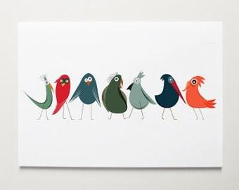 Early Birds Nursery Art by ModernPOP - Nursery room Art - Playroom Art - Art for babies