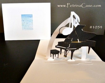 Grand Piano Pop-Up Card 180 degrees  with MUSIC NOTE 1054