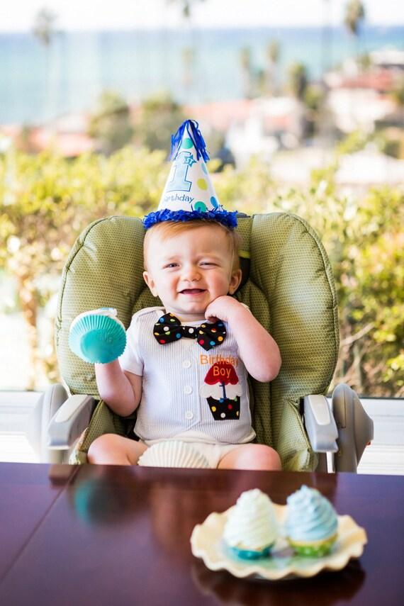 "First Birthday Fake Cupcake Props ""1st Birthday Boy Photo Shoot Cupcake Collection"" 1 Standard Cupcake 4 Mini Cupcakes"