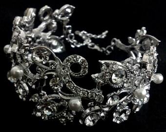 Pearl Bridal Bracelet, Vines Bracelet, Leaves Wedding Bracelet, Silver Wedding Jewelry, Swarovski Crystal Bridal Jewelry, PETALS