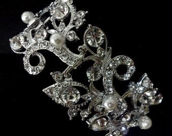 Pearl Bridal Bracelet, Vines Bracelet, Leaves Bracelet, Silver Jewelry, Swarovski Crystal, PETALS