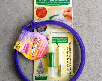 "Punchneedle Embroidery Tool and Lock-tip Hoop//medium sized tool and 6"" hoop"