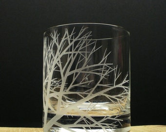 1 Double Old Fashioned Glass Hand Engraved 'Reaching Branches' Crystal Glass Bar ware Whiskey Glass Father of The Bride Gift