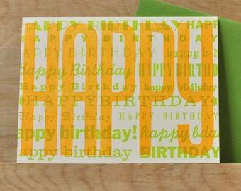 Vintage Orange Green Happy Birthday Letterpress Card