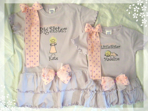 bOuTiQuE Big or Little Sister tshirt Dress custom embroidered to order