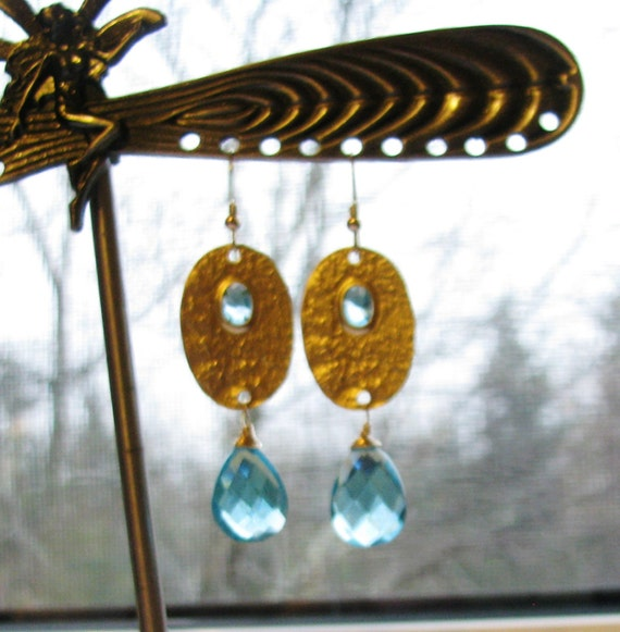 Swiss Blue Quartz Earrings, Textured 18k Matte Gold Connectors with Aqua Crystal Inset, 14k Gold Filled Earwires, OOAK Gift, FREE SHIPPING