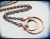 Rustic Hammered Copper Necklace