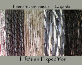 Yarn samples supplies, silver gray black white fiber art bundle scrapbooking variety card 20 yards embellish pack i303 Life's an Expedition