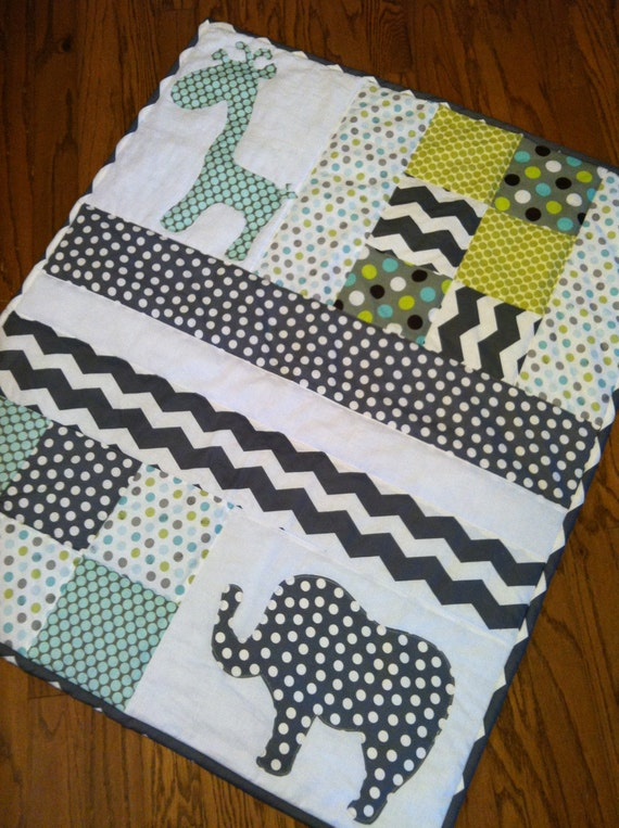 items similar to handmade baby quilt with elephant and
