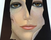 Margaret Keane Big Eye Girl Lithograph Print Torn 1962