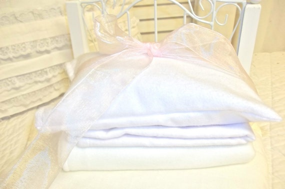 Doll Basic White Sheet set and Fleece blanket- 18 inch doll size
