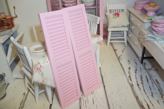 Shabby Style Miniature Dollhouse Pink Shutters