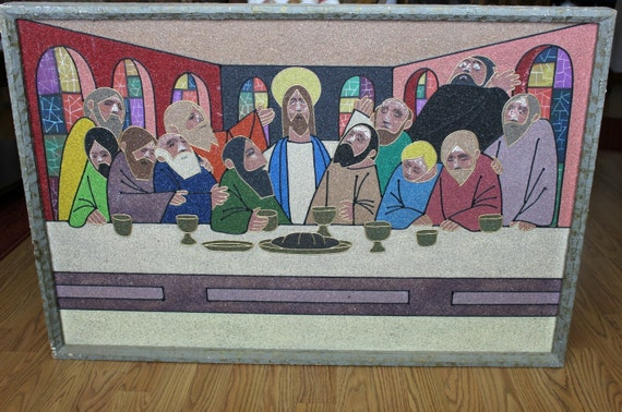Vintage Last Supper Mosaic Abstract Wall Hanging Large Picture