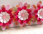 Set of 3 Paper Flowers - Pink Spring Daisies -
