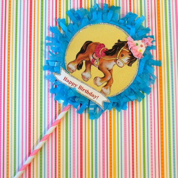 Yellow/Blue Horse Cake Topper