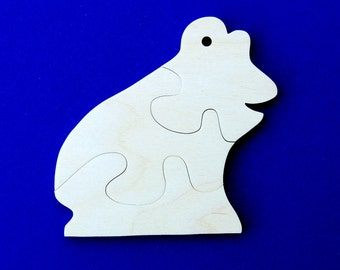 Frog Party Favors - Package of 10 Wood Toy Puzzles - Great for a Toddler or Childrens Birthday Party