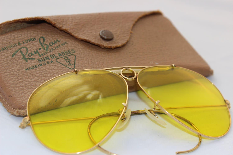 1a2d209268 Vintage Ray Ban Yellow Shooting Glasses