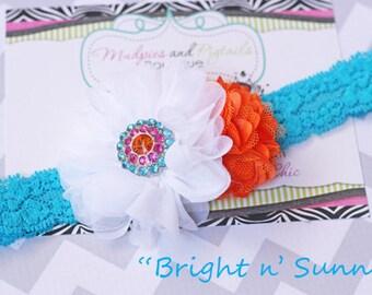summer baby Headband { Bright and Sunny } turquoise white, orange shabby Flower Elastic headband, beach fun, first birthday photography prop