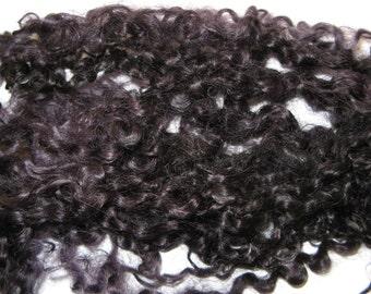 Wensleydale wool locks, Black, Dolls hair, Blythe dolls, Spinning, Felting, Textiles