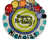"""7"""" or 10"""" happy birthday party personalized plate unique handmade pottery original art"""
