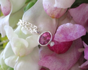 Pink Tourmaline and Diamond Pendant in Sterling Silver with 16 Inch Sterling Chain, Handforged and Ready to Ship