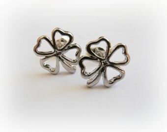 Tiny Lucky Clover Stud Earring - Clover unisex sterling silver earring - Clover post earrings sterling silver - Sterling Silver Clover stud