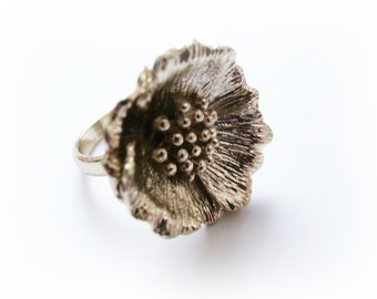 Poppy Flower Ring Oxidized Metalwork Solid Brass - Easter symbol of resurrection and immortality - Veterans Day symbol