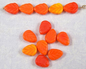 Orange Multi Glass Leaf Beads, 25