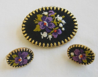 Vintage Black, Purple and Green Cross Stitch or Embroidered Pin and Earrings Set or Demi Parure