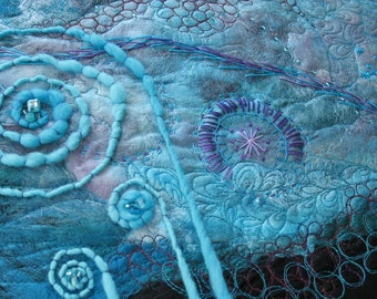 Silk Fusion Fibre Art, Turquoise and Purple