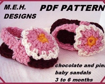 CROCHET PATTERN, Baby girl shoes,  number 90.. sandals, instant download