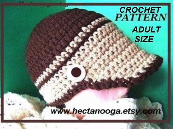NEWSBOY HAT, Crochet Pattern, number 171, For guys or gals,.. Adult size - 2 tone beanie or visor