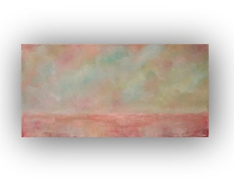 Pink Abstract Landscape Oil Painting on Canvas- 15 x 30 inch Original Palette Knife Painting- Clouds- Sky Art