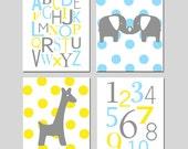 Boy Nursery Art Decor Quad - Set of Four 8x10 Prints - Polka Dot Elephants, Alphabet, Numbers, Polka Dot Baby Giraffe - CHOOSE YOUR COLORS