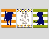 Boy Nursery Art Puppy Dog Trio - Set of Three 11x14 Prints - Striped Puppy Dogs - Frogs Snails Puppy Dog Tails - CHOOSE YOUR COLORS